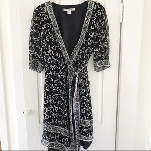 Diane Von Furstenberg Silk Wrap Dress Sz 6 Black